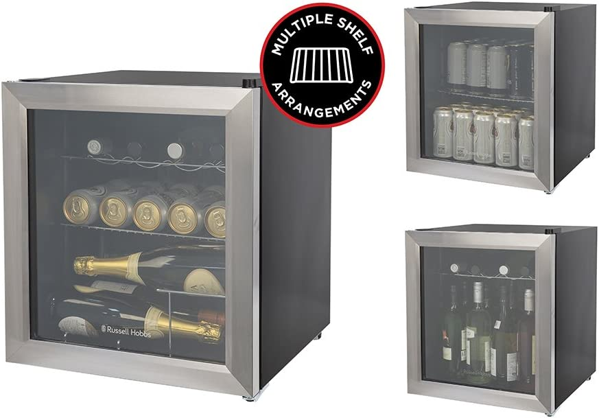 Black Russell Hobbs RHGWC1B Glass Door Bottle /& Drinks Cooler