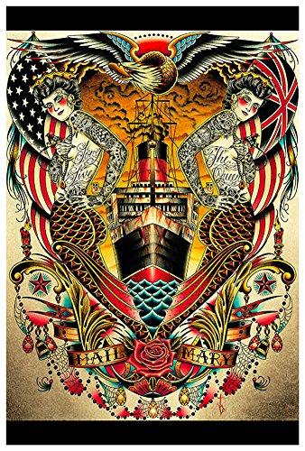 Hail by Tyler Bredeweg Tattoo Mermaids Queen Mary Tattoo Framed Fine Art - Mary Tattoo