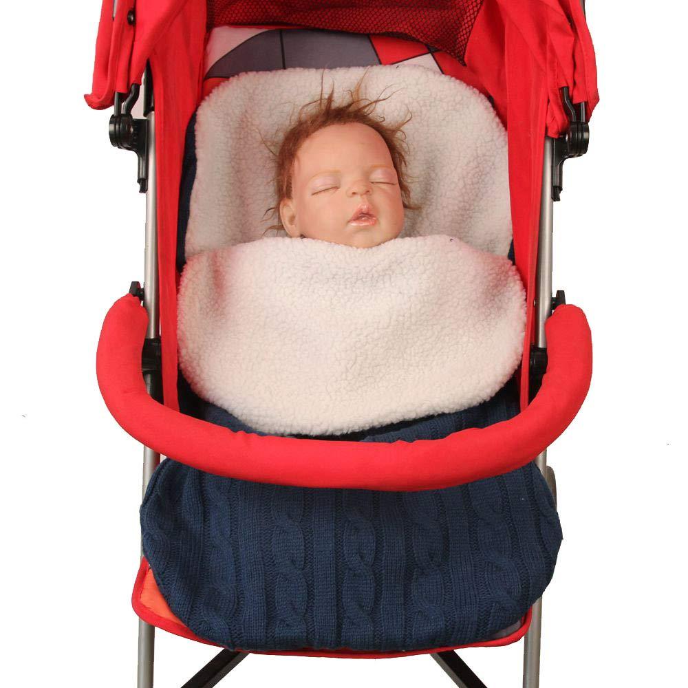 Wickeldecke mit Samt Pucksack Fleece weich Baby-Puckdecke f/ür Neugeborene Kinderwagen dick gestrickt Schlafsack f/ür Kinderwagen warm