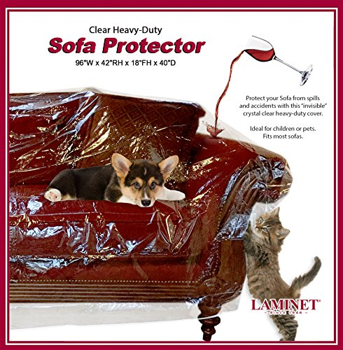 LAMINET Thick Crystal Clear Heavy-Duty Water Resistant Sofa/Couch Cover - Perfect for Protection Against CAT/Dog Clawing, Kids and Grandkids!!! - Sofa - 42