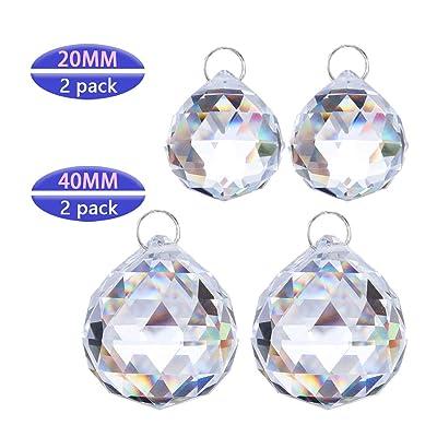 Crystalsuncatcher 4 pcs Suncatchers Prism Clear Glass Crystal Ball Pendant Suncatcher Pack of 2pcs 20mm & 40mm : Garden & Outdoor