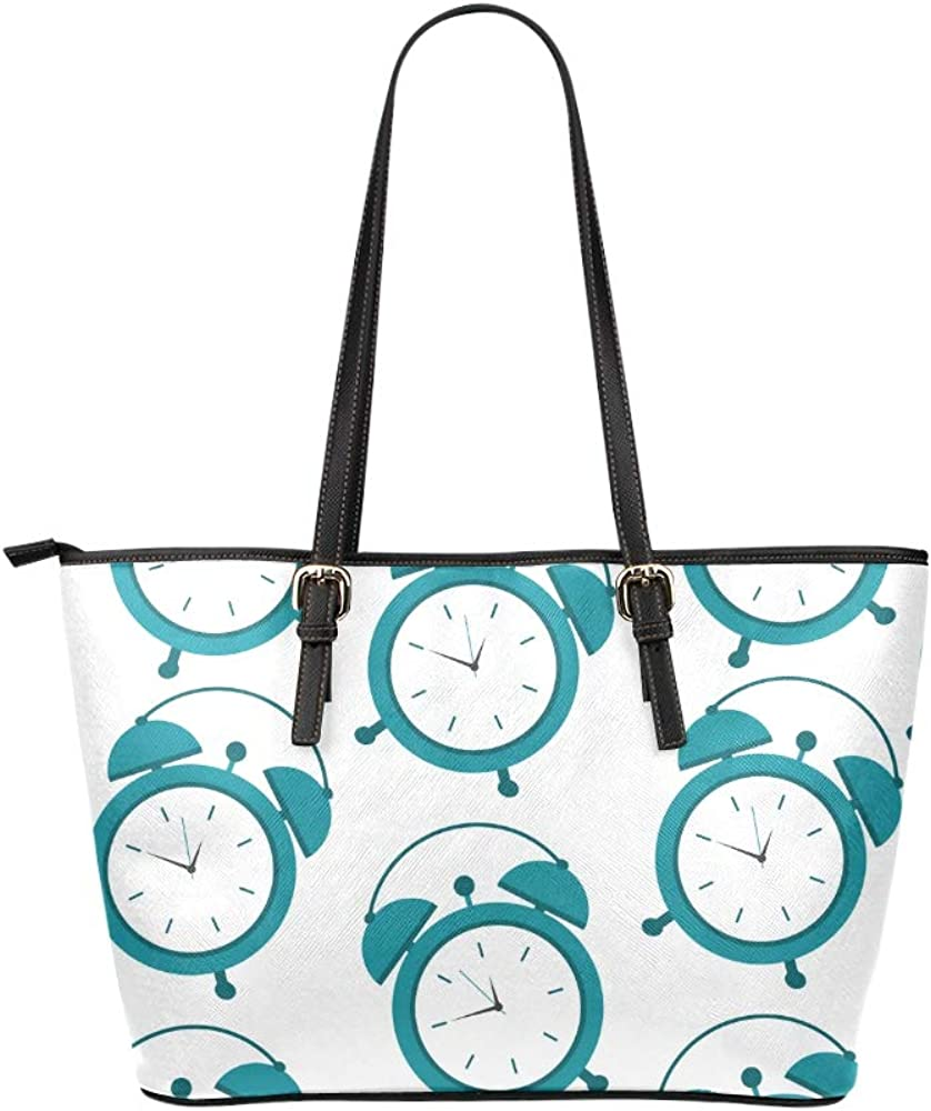 Compact Alarm Clock Weak Up Tool Large Leather Portable Top Handle Hand Totes Bags Causal Handbags Zipped Shoulder Shopping Purse Luggage Organizer For Lady Girls Womens