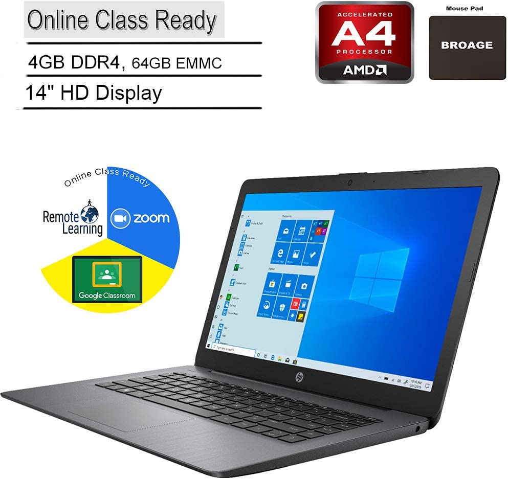 "2020 HP Stream 14 14"" Laptop Computer, AMD A4-9120e up to 2.2GHz, 4GB DDR4 RAM, 64GB eMMC, Online Class Ready, Bluetooth 4.2, USB 3.1, Black, Windows 10 Home in S Mode, BROAGE Mouse Pad"