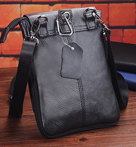 Vertical Leather Belt Pouch,Iphone 7 plus Holster,Men Small Crossbody Messenger phone bag + Keychain