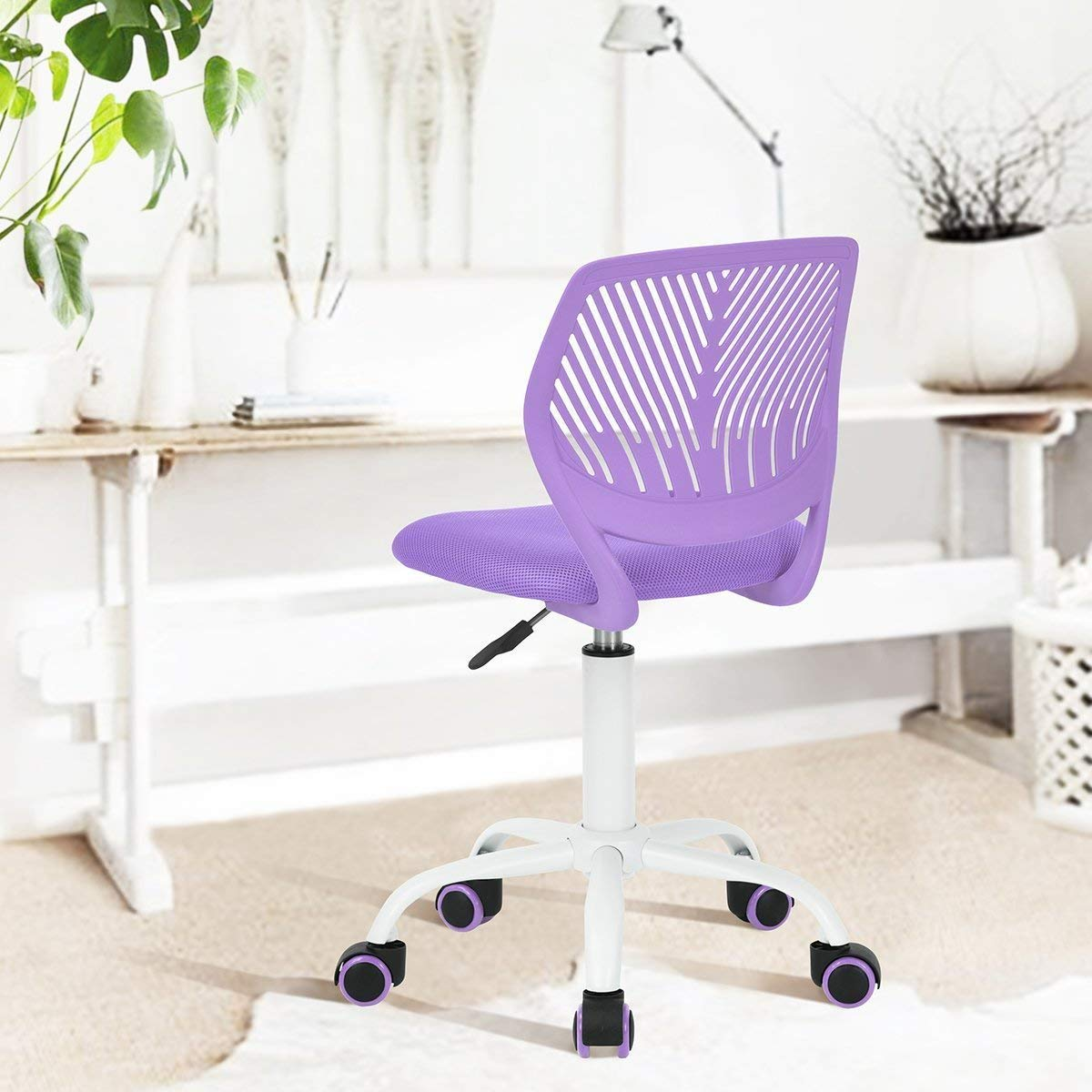 Renewed Purple GreenForest Furniture Mid Back Adjustable Home Office Children Desk Chair