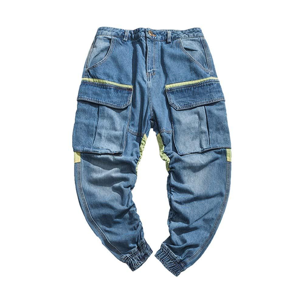 EVEORSSRA Jeanshosen Retro Trend Jugend Street Overalls Casual Jeans Spleißen Shorts Männer Kreuz Hosen