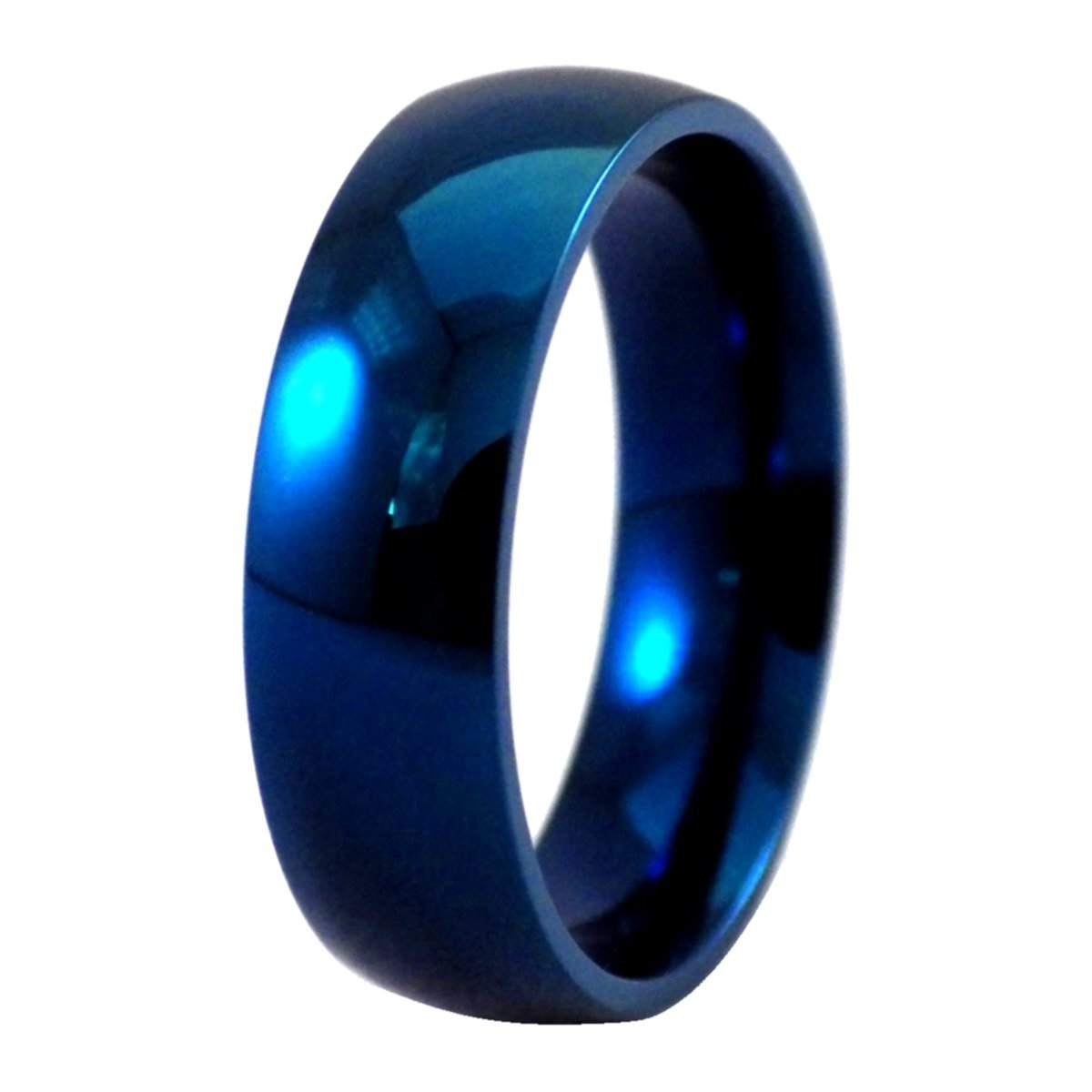 Fantasy Forge Jewelry Electric Blue Stainless Steel Ring Simple Wedding Band Size 16