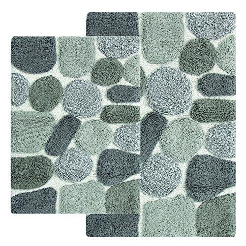 Chesapeake Merchandising Inc. Pebbles 2 Piece Bath Rug Set, Grey