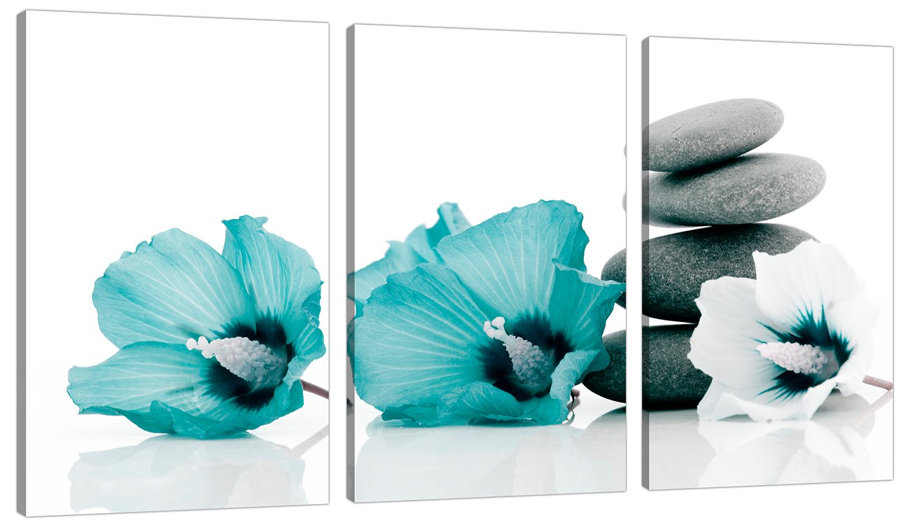 Set Of 3 Teal Floral Wall Pictures Split Canvas Art Bedroom Print 3072:  Amazon.co.uk: Kitchen U0026 Home