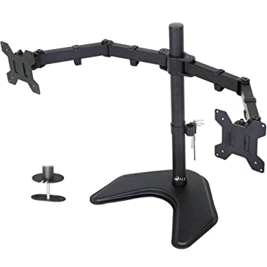 WALI Free Standing Dual LCD Monitor Fully Adjustable Desk Mount Fits 2 Screens up to 27 inch, 22 lbs. Weight Capacity per Arm (MF002), Black