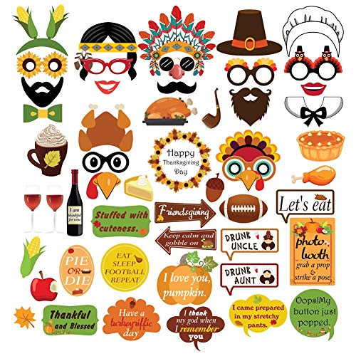 Thanksgiving Fall Party Photo Booth Props Kit For Autumn Harvest Funny Turkey Friendsgiving Party Decorations Supplies-44 Count