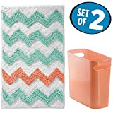 chevron trash can - mDesign Chevron Microfiber Bathroom Accent Rug, Wastebasket Trash Can - Set of 2, Aruba/Coral