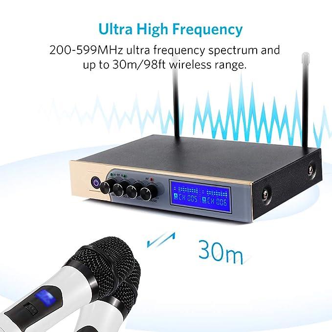 Micrófonos Inalámbricos Karaoke UHF,Micrófono Bluetooth 4.1 con Dual Canal, UHF Receptor Dos Micrófonos de Mano,Equipo de Karaoke Sistema con Dos Cables ...