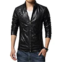 Idopy Men`s Casual Slim Fit Rider Trucker PU Faux Leather Jacket