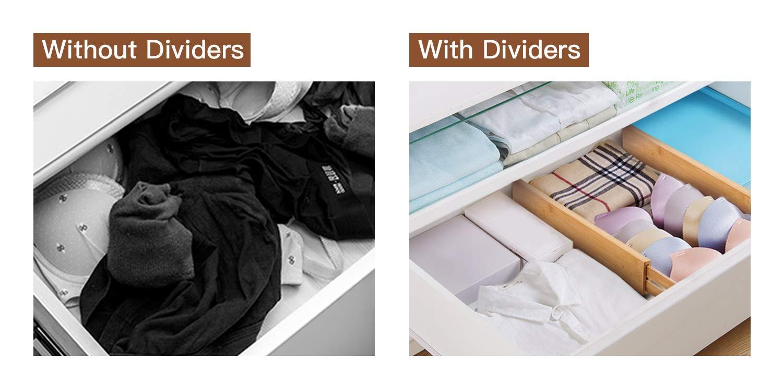 Dormitorio Tocador con Resorte Organizadores Ajustables para Cajones Trabajos en Cocina Ba/ño Utoplike Divisores de Cajones de Cocina de Bamb/ú de 4 Paquetes 44.5-55.4cm Caj/ón para Beb/és