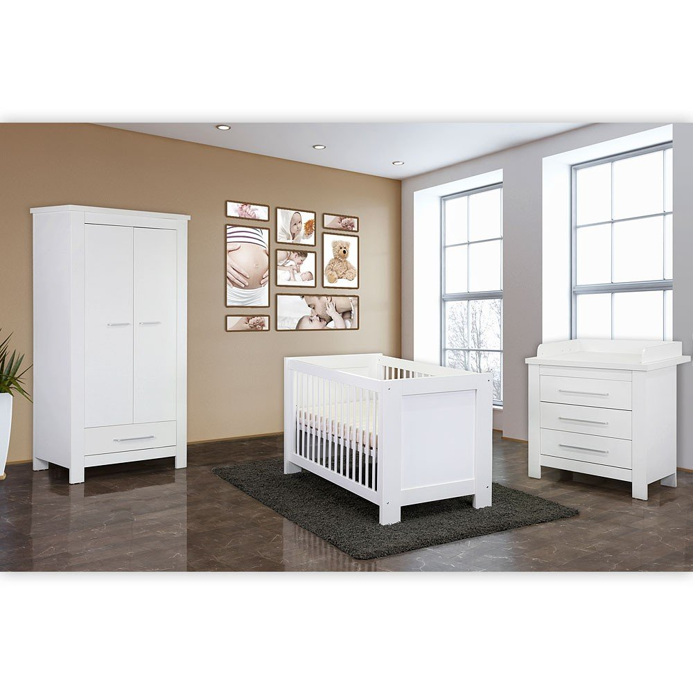 Babyzimmer 4-tlg. Enni mit 2-türigem Kleiderschrank in weiß ...