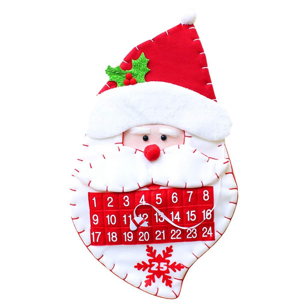 1KTon Christmas Calendar Fabric Advent Countdown Santa Claus Calendar Christmas Decor by 1KTon