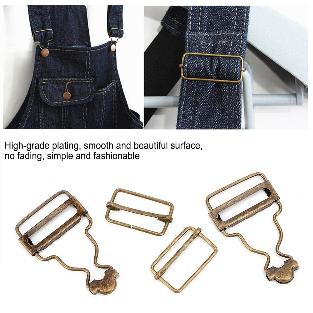 古铜色 KEYREN 10 unids//Set Tirantes Met/álicos Hebilla Ajustable Bot/ón de Metal para Pantalones de Babero Jeans Ropa de Ni/ño 2.7 cm