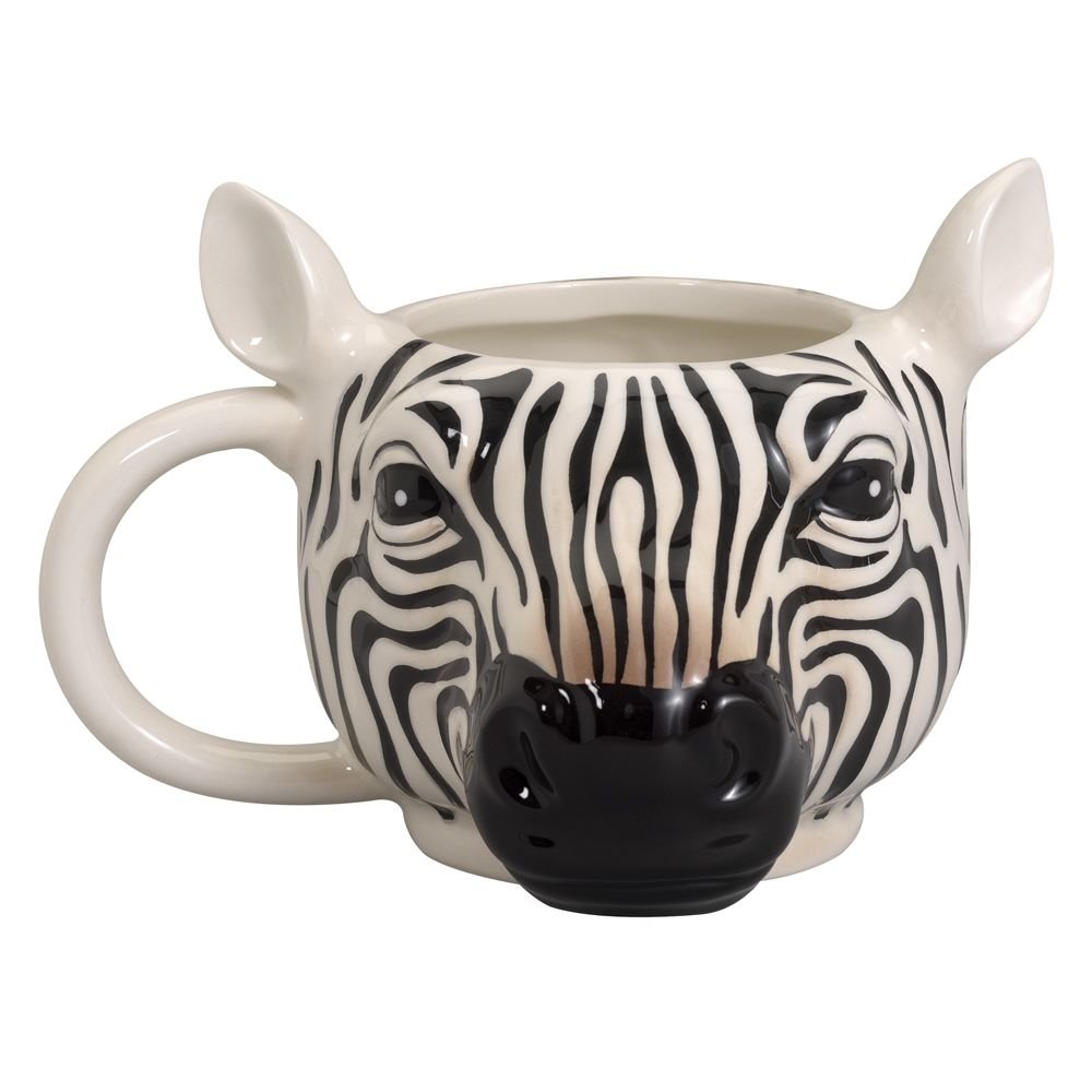 Bits and Pieces - 14 Ounce Zebra Striped Coffee Mug - Porcelain Animal Shaped Tea Cup
