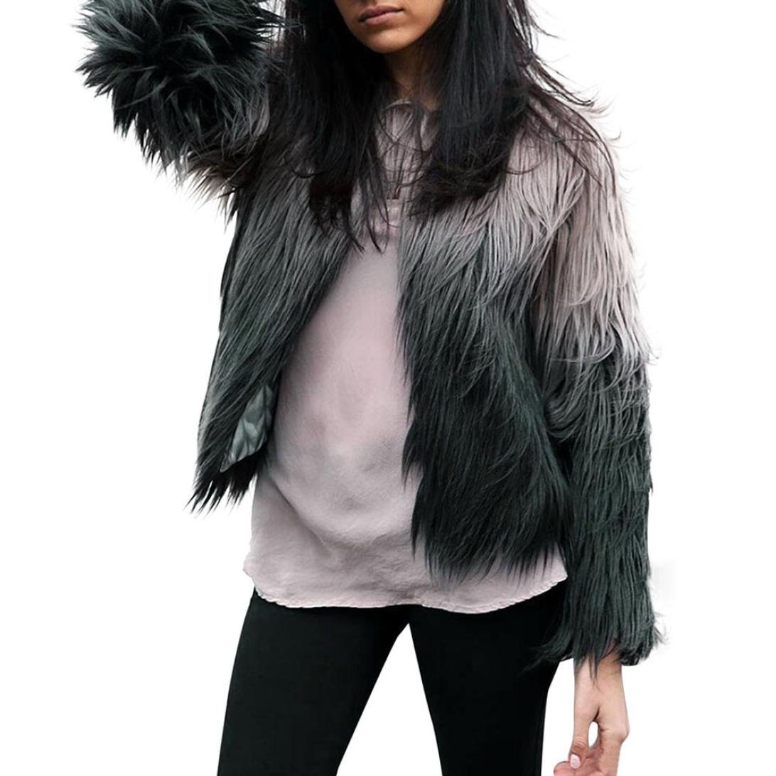 Perman Womens Winter Warm Faux Fur Short Coat Jacket Parka Outerwear Tops (XL, Gray - black)