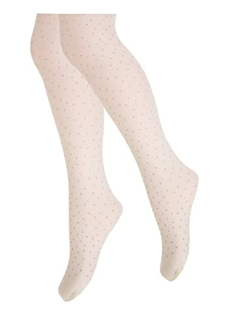 ad724d84c73dc TLLC Girls Glitter DOTS Printed Tights 60 Denier Opaque: Amazon.co.uk:  Clothing