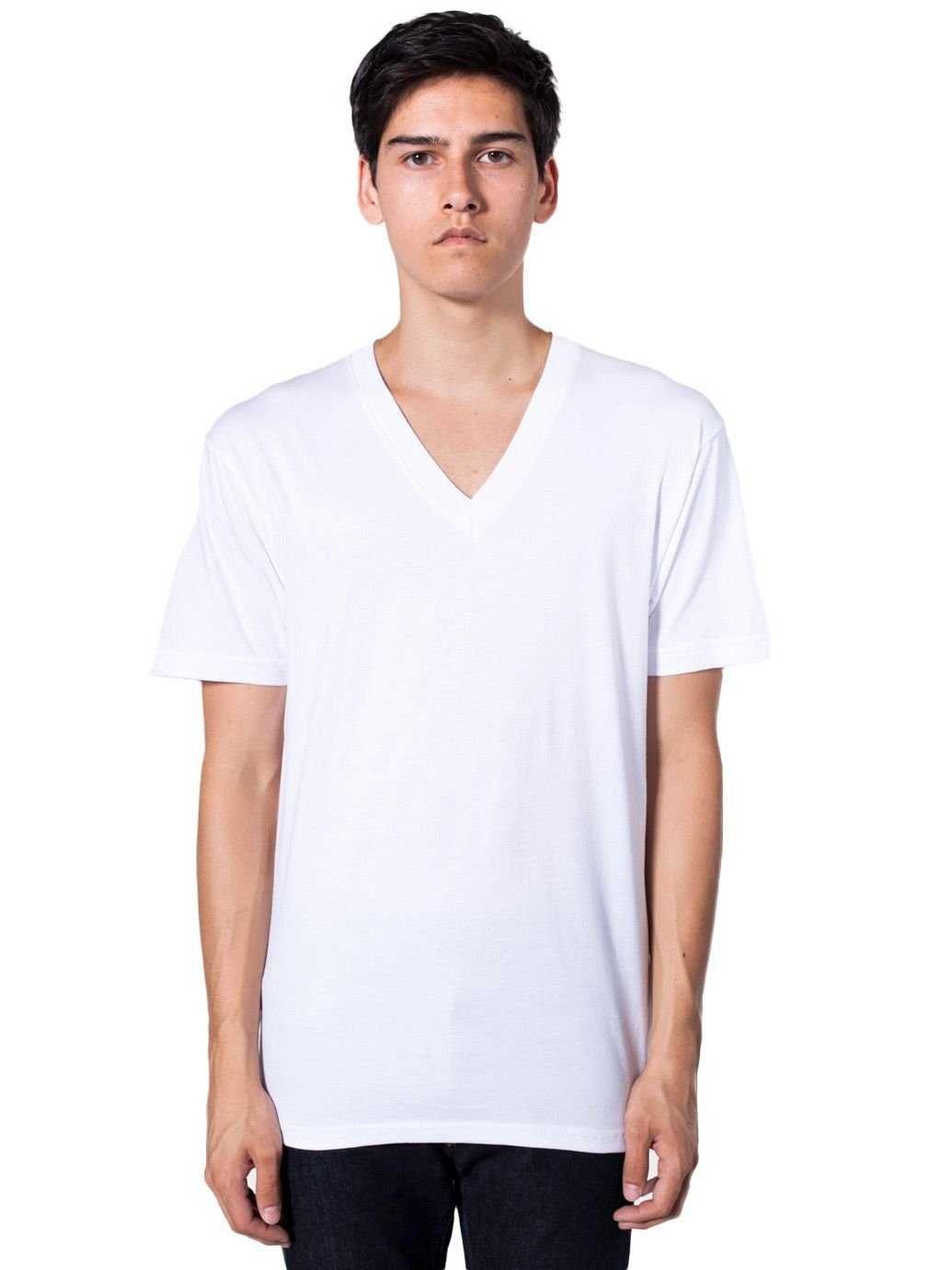 American Apparel Men's Organic Fine Jersey Short Sleeve V-Neck - White / M