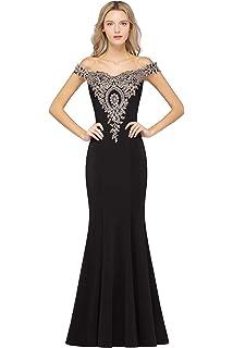 c78590785a MisShow Off-Shoulder Gold Appliques Mermaid Long Evening Formal Prom Dresses  for Women