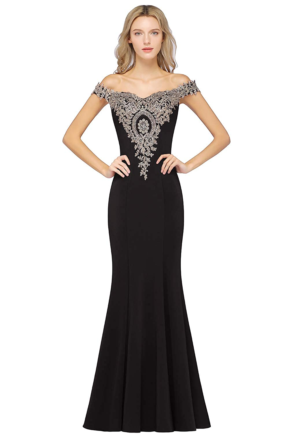 5520be77dc3d MisShow Off-Shoulder Gold Appliques Mermaid Long Evening Formal Prom Dresses  for Women at Amazon Women's Clothing store: