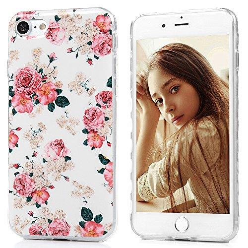 Mavis's Diary Coque iPhone 7 TPU Souple Fleur Dessin Housse de Protection Étui Téléphone Portable Phone Case Cover+Chiffon