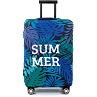 Periea Premium 3mm Elasticated Suitcase Luggage Cover - 38 Different Designs - Small, Medium or Large (Green & Blue Palm Leaves, Small)