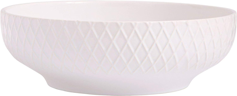 Home Essentials 15426 Embossed Diamond Round Serve Bowl, 13-inch Diameter, White