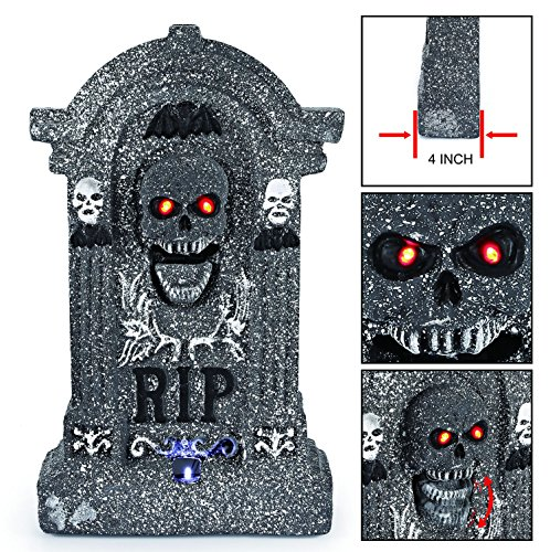 "Halloween Tombstones - Animated Halloween 20"" Foam RIP Graveyard Tombstone Halloween Decorations with Great Sound Effect and Laughing Skeleton Face"