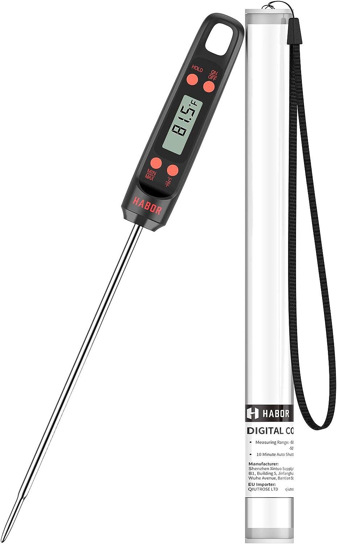 Habor Termometro de Cocina Termómetro para Carne Digital, Sonda Súper Larga, Lectura Instantánea de 5s Con Botón de ° C / ° F, Para Cocina, BBQ, Comida, Pavo, Caramelo, Leche, Agua de Baño