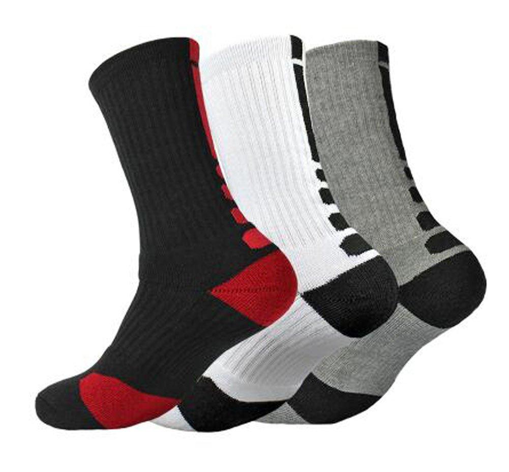 Set of 3 Basketball Athletic Half Cushioned Socks Wrap Design [A] Black Temptation