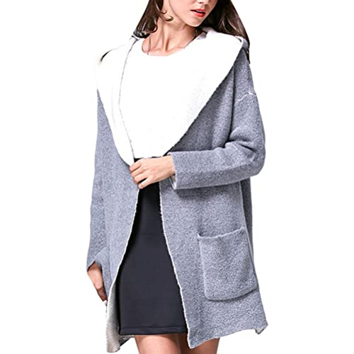 Zhhlaixing Suéter hermoso Solid Color Sweater Loose Women Pocket Sweater Coat Simple Style The Best ...