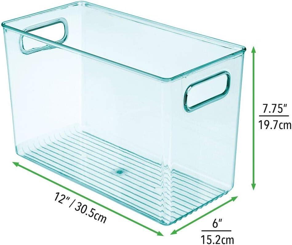 azul Caja para juguetes o pa/ñales en pl/ástico libre de BPA Contenedor pl/ástico grande con pr/ácticas asas mDesign Juego de 2 cestas organizadoras para cuarto de beb/é