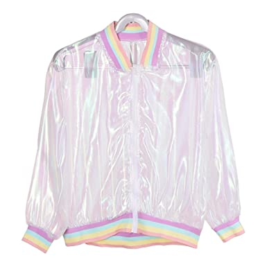 6cc0ded15371 Hunt Gold Fashion Iridescent Soft Sunproof Clear Transparent Bomber Jacket  Holographic Coat  Amazon.co.uk  Clothing