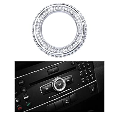 1797 Compatible Volume Knob Cap for Mercedes Benz Accessories Parts Bling W204 W213 C117 C E CLA GLA GLE Class Media Control Covers Decals Stickers Interior Decorations AMG Women Men Crystal Silver: Automotive