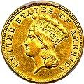 1860 S $3 Princess Gold Three-Dollar Piece AU58 PCGS