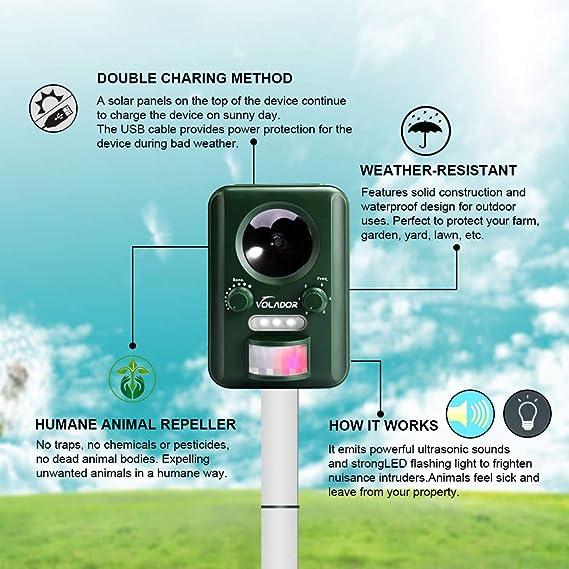 Repelente para gatos, Volador Repelente Ultrasónico de Animales, Batería Solar Impermeable, Sensor de Movimiento y Luz Intermitente Detector de Para Gatos, ...