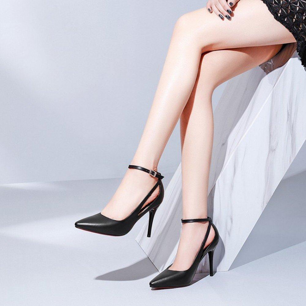 CXY High-End-Schuhe mit Hohem Absatz und Mund Knöcheln mit Flachem Mund und Einzelne Schuhe Wies Weibliche Schuhe D mit 9cm Höhe 34 7db9f9