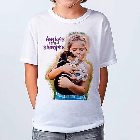 LolaPix - Camiseta Kids Personalizada con tu Foto, diseño o Texto, Original y Exclusivo. Camiseta Blanca Impresa a Todo Color para niños y niñas. Tacto Algodon. Distintas Tallas. Talla 9-10: Amazon.es: Hogar