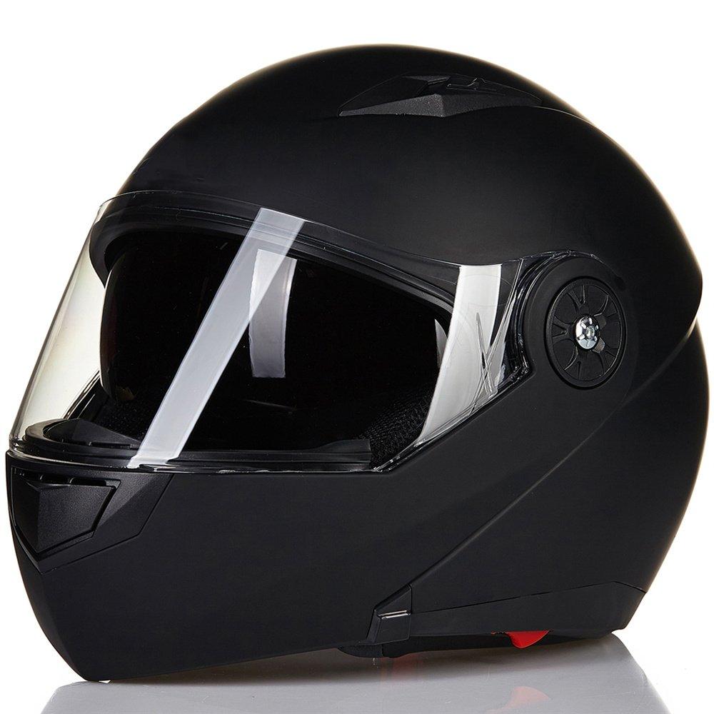 L, Gloss Black ILM 5 Colors Motorcycle Modular Flip up Dual Visor Helmet DOT