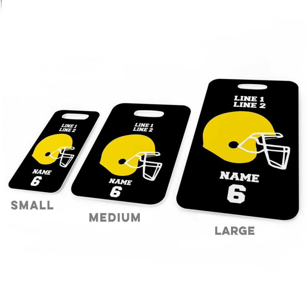 Football Luggage & Bag Tag | Personalized Football Team Helmet | Standard Lines on Back | MEDIUM | BLACK/YELLOW by ChalkTalkSPORTS (Image #3)