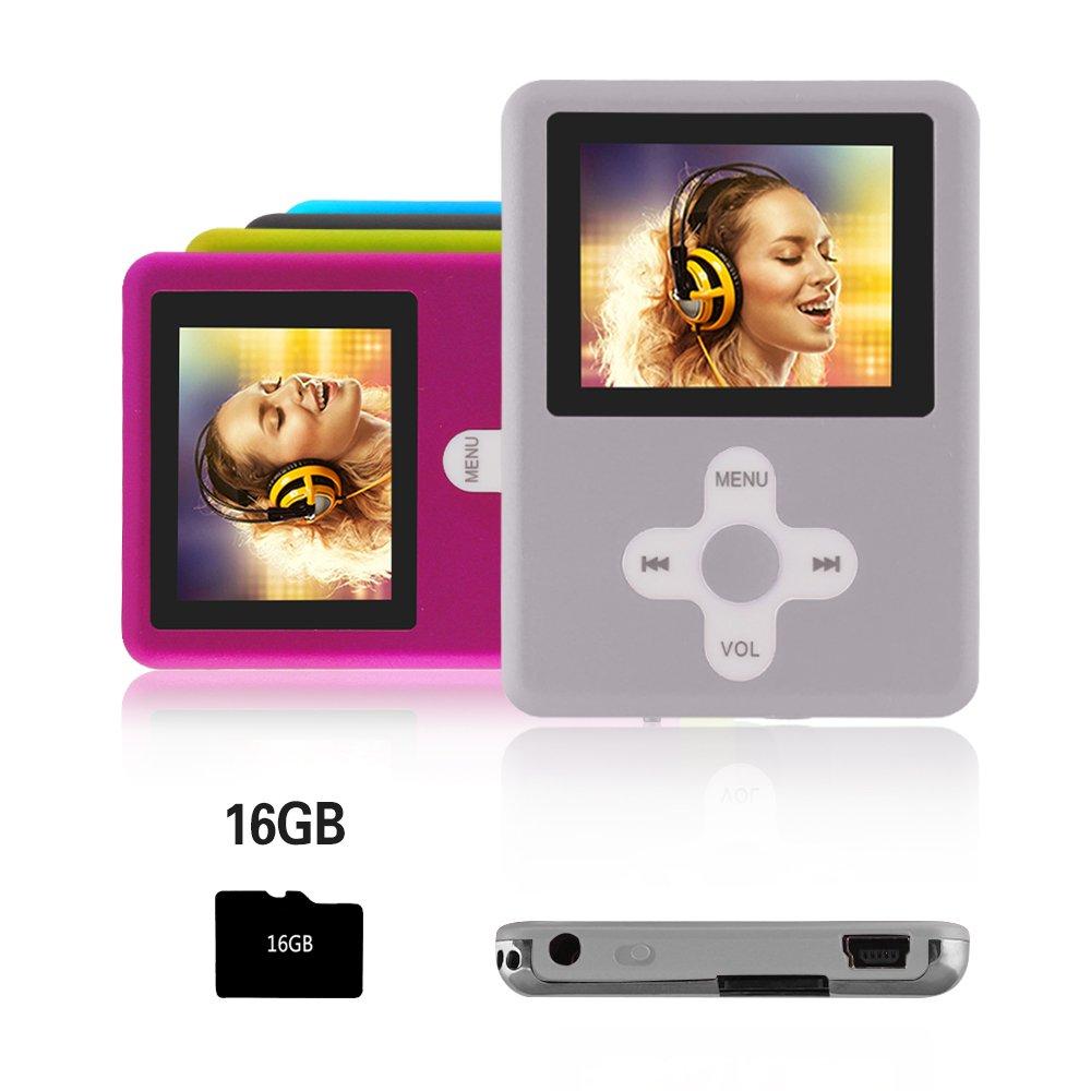 Btopllc Reproductor de MP4, Reproductor de música Digital de 16GB Tarjeta de Memoria, Reproductor Compacto con Puerto Mini USB, Reproductor de música MP3, MP4, Reproductor Multimedia,Plateado