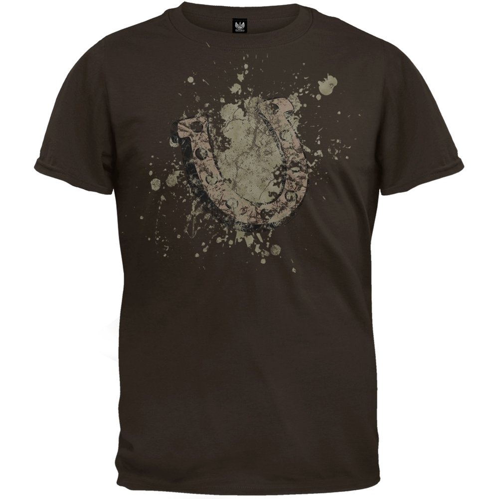 Horse Shoe Bleached Design Dark Chocolate T-Shirt Old Glory