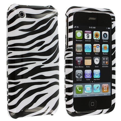 (Black and White Stripes Zebra Skin Animal Design Snap-On Cover Hard Case Cell Phone Protector for Apple iPhone 3G)
