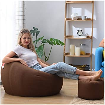 Amazon.com: QXX Lazy Couch Bean Bag Tatami Thick Cushion Comfortable Casual Multifunctional Chair Bedroom Living Room Single Fabric Sofa With Footstool (Color : Brown, Size : XL): Furniture & Decor