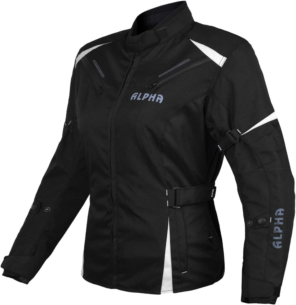 BLACK//WHITE, MEDIUM ALPHA CYCLE GEAR ALL SEASON WOMEN MOTORCYCLE JACKET WATERPROOF RIDING WITH CE ARMOUR