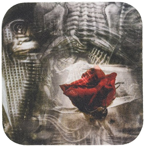 3dRose-cst1231881-Gothic-Steampunk-with-Red-Rose-Soft-Coasters-Set-of-4
